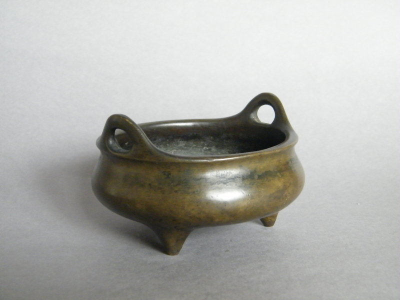 "Fine 17thCent Chinese Bronze Censer Rare Mark ""Cang Ju"""