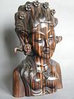 Carved Striped Ebony Bust of Lady, Bali circa 1930-1960