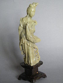 Early 20C Carved Soapstone Figure of a Lady c1900-1920