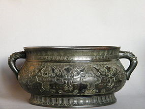 Fine Massive Early 18th Century Chinese  Bronze Censer