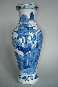 19th Century Chinese Blue & White Vase Kangxi Mark
