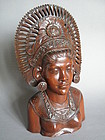 Large Carved Hardwood Bust from Bali circa 1920-1950