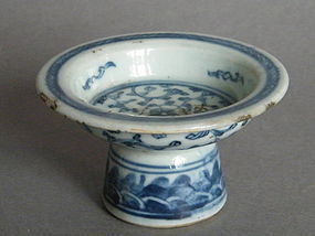 Small Mid 19th Century Chinese Blue & White Stem Dish