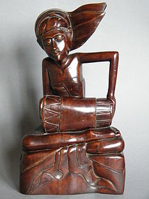 Early 20th Century Carved Wood Drummer  from Bali