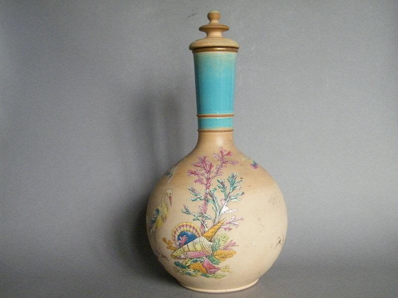 Victorian Watcombe Pottery Terracotta Bottle Vase c1878