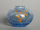 Small Art Deco  Painted Crackle Glass Vase,  circa1930s