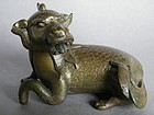 Rare Mid 17th C  Bronze Qilin Paper Weight , c1620-1680