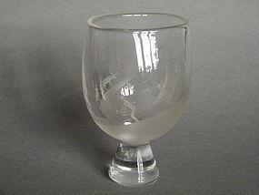 Engraved Glass Vase des. Sven Palmquest Orrefors c1953