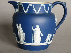 Dark Blue Wedgwood Jasperware 1 Pint Milk Jug 1891-1908