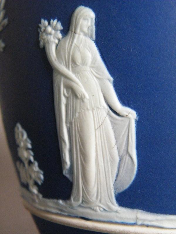 Dark Blue Wedgwood Jasperware 1 Pint Milk Jug 1891-1908