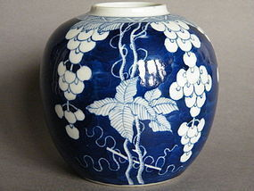 Unusual 19th/20th Century Blue White Jar - Kangxi Mark