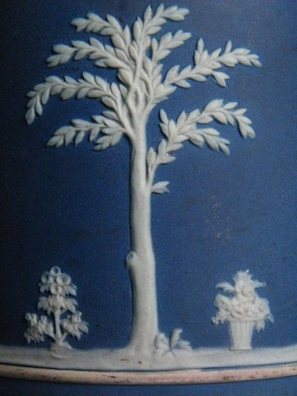 1920s/1930s Wedgwood Blue Jasperware Biscuit Barrel