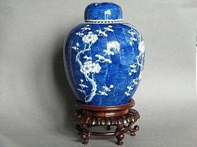 Large Kangxi Style Prunus Jar, Cover & Stand c1875-1908