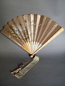 Fine Hand Painted Silk Satin Ladies Fan made circa 1898