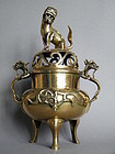 Large 19th Century Polished Bronze Lion & Dragon Censer