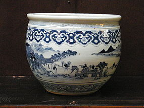Late Qing Transitional Style Landscape Fish Bowl - 19C