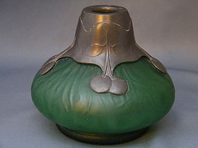 Art Nouveau Orion Pewter Mounted Glass Vase c. 1905