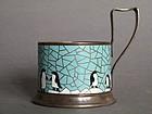 Enamelled Soviet Russian Tea Glass Holder circa 1950s