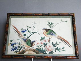 19th Century Chinese Bird & Flower Pith Paper Painting
