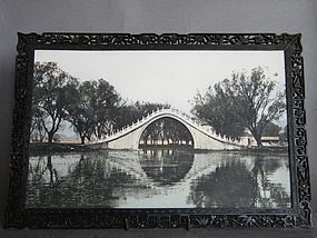 Late Qing Hardwood Framed Photo of Yu Dai Qiao Bridge