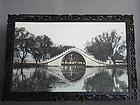 Late Qing Hardwood Framed Photo of Yu Dai Qiao Bridge