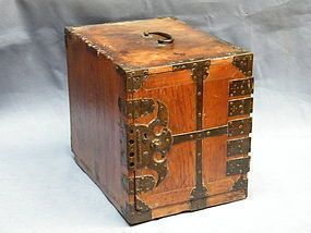 19th Century Japanese  Metal Bound Wood Cabinet