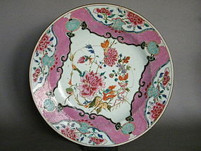 Large Famille Rose Export Dish 1723-1735 - Damaged