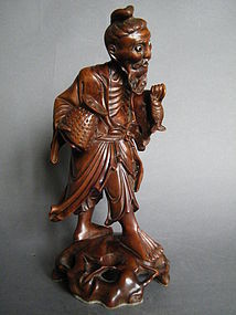 Chinese Carved Hardwood Figure - Fisherman c1880-1920