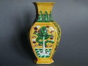 Yellow Ground Susancai 6-Sided Dragon Vase 1895-1920
