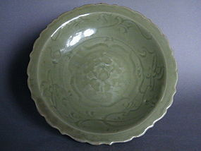 Ming Dynasty Celadon Dish with Bracketed Rim c1400-1500