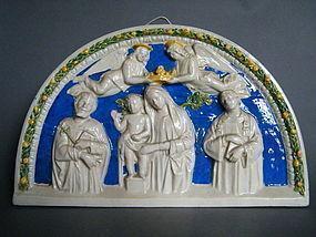 15th Century Style Della Robbia Plaque Italy c1800-1900