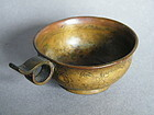 Rare Ming Dynasty Ring Handled Gilt Bronze Libation Cup