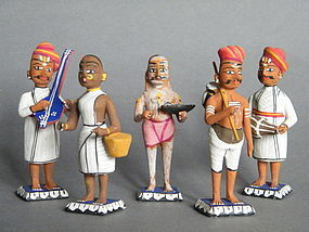 Five Painted Wood Figures from India  circa 1860-1910