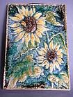 German Karlsruhe Sunflowers Tile or Plaque  circa 1960s