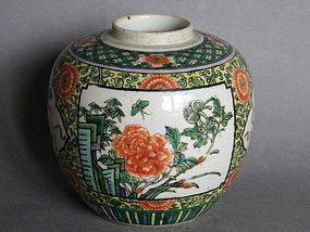 Kangxi Style Famille Verte Porcelain Jar, c 1875-1908