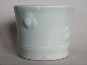Rare 17th/18th Century Celadon Brushpot probably Kangxi