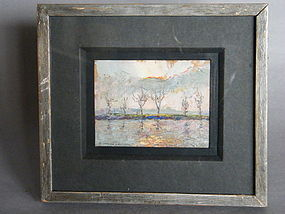"Oil on Board ""Sunset at Hammersmith"" by Piero Sansalvadore (1892-1955)"