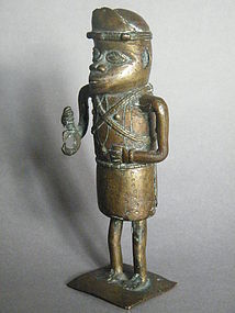 19th or Early 20th Century Benin Bronze Figure