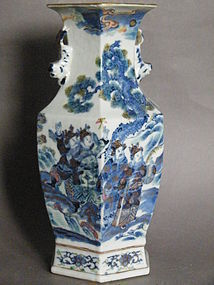 Chinese Six-Sided Doucai Vase, Guangxu Reign (1875-1908)