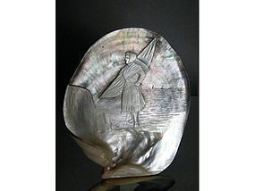 Victorian Carved Mother of Pearl Oyster Shell Fisherwoman c1875 - 1900