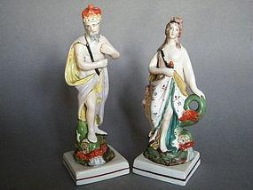 "Staffordshire Pearlware Figures ""Neptune & Venus"" c1790-1810 *SOLD*"