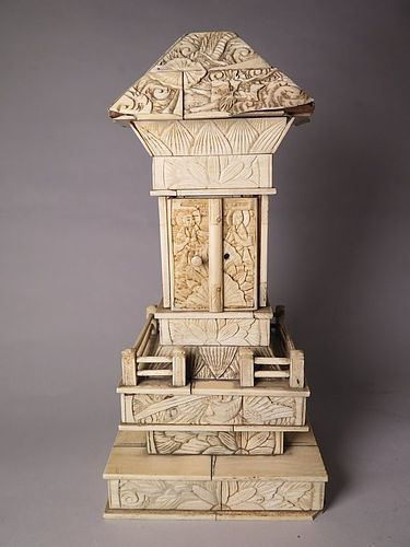 Japanese Carved Ivory Kannon Pagoda Shrine, Meiji circa 1868 - 1911