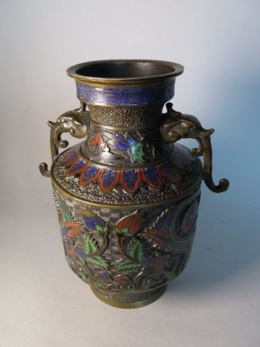 Rare Japanese Cloisonne Bronze Vase with Iznik Style Decoration