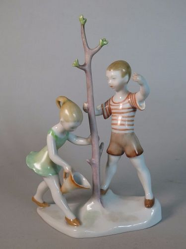 Herend Porcelain Figure Group from Hungary, 1950s - 1960s