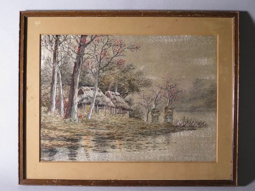 Framed Silk Embroidered Landscape Picture from Japan, circa 1880-1910