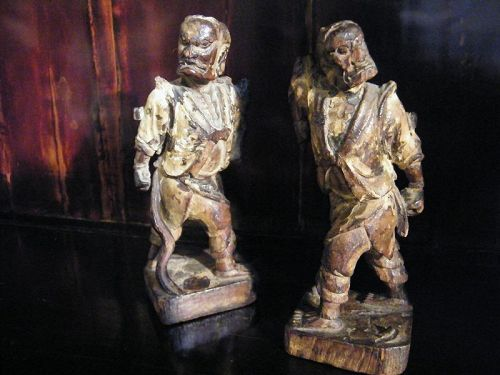 Chinese Wooden Celestial Guardian Figures, Ming Dynasty (1368 - 1644)