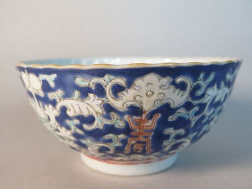Nonya Enamelled Straits Chinese Chrysanthemum Bowl, mid 19th Century