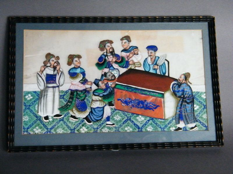 """Chinese Pith Paper Painting """"The Death of  Ma Su"""", 19th Century"""