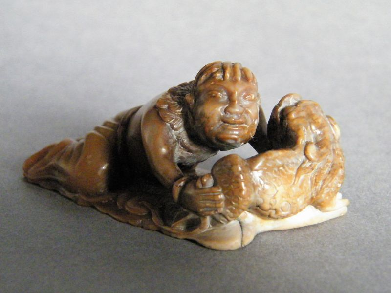 Fine & Rare Chinese Soapstone Carving of Liu Hai & a Pixiu c1630-1730