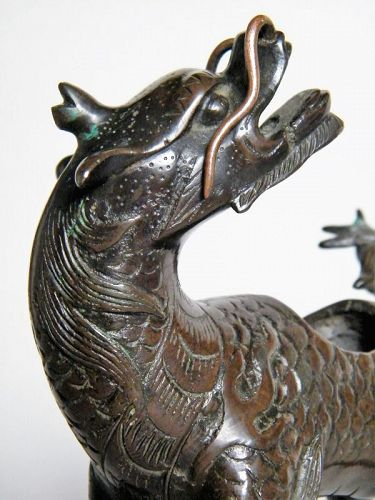 Early 17th Century Ming Dynasty Chinese Bronze Qilin Censer